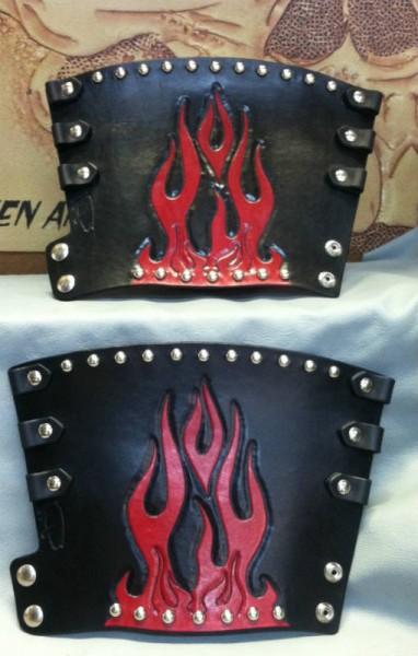 Custom Tooled Flame Biker Cuff